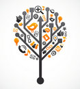 Social network tree with media icons Stock Images