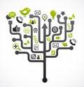 Sociální síť strom média ikony