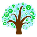 Social network tree with media icons on white background Stock Photography