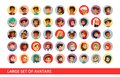 Social network user avatars cartoon illustration of people and children different nationality for chat profile icons