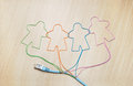 Social networking ethernet cable shaping silhouettes of virtual users Stock Photo