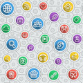 Social networking flat outline multicolor pattern seamless of icons in long shadows style Royalty Free Stock Images