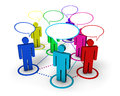 Social networking internet concept community network forum and online group with connection of d colorful people by dotted lines Royalty Free Stock Photos