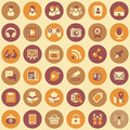 Social networking round icons set of flat web of and multimedia in retro colors Royalty Free Stock Images