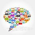 Social networking - speech bubble made of people