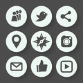 Social networks gray icon set, flat design. Vector illustration.