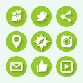 Social networks green icon set, flat design. Vector illustration.