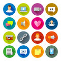 Social networks icons – fllate series professional vector flat and long shadow for your website application and presentation Stock Images