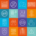 Social networks lineart minimal vector iconset on multicolor checkered texture