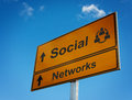 Social networks road sign. Stock Photography