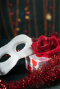 Social party with gift and rose Royalty Free Stock Photos