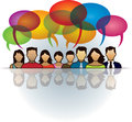 Social people speech bubble a group of are together and talk with bubbles Royalty Free Stock Images