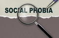 Social phobia word and magnifying glass with pensil made in d software Stock Image