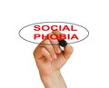 Social phobia writing word disorder with marker on white background made in d software Stock Image