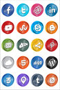 Social reflection icons most used icon set Stock Photography