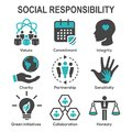 Social Responsibility Solid Icon Set w Honesty, integrity, & col Royalty Free Stock Photo
