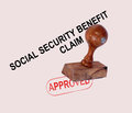 Social security claim approved stamp showing unemployment benefit agreed Royalty Free Stock Photo