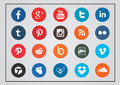 Social technology and media icon set rounded Royalty Free Stock Photo