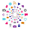 Social technology and media motion circle in bright colors filled with icons associated with networking creating Stock Image