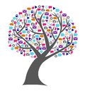 Social technology and media tree filled with networking icons the leafs replaced by small in bright colors Royalty Free Stock Photo