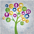 Social tree a with a lot of colorful web icons Stock Photo