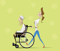 Social worker and elder man in wheelchair strolling with vector flat illustration Stock Photo
