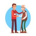Social worker helping elder grey haired man
