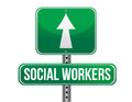 Social workers road sign illustration design over a white background Stock Photos