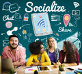 Socialize Sharing Social Media Sharing Concept Royalty Free Stock Photo