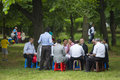 Socializing at turkish festival bucharest romania may unidentified group of people gather relax and socialize in the park during Royalty Free Stock Photography