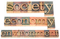 Society economy environment a collage of isolated text in letterpress wood type printing blocks stained by color inks Stock Photos