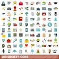 100 society icons set, flat style