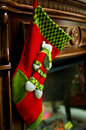 Sock christmas on a fireplace is ready for gifts Stock Photo