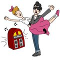 Sock Hop Rock and Roll Fifties Dancing Couple Royalty Free Stock Photo