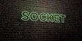 SOCKET -Realistic Neon Sign on Brick Wall background - 3D rendered royalty free stock image