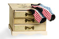 Socks as the American flag on dresser Royalty Free Stock Photo