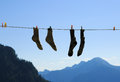 Socks drying Royalty Free Stock Photo