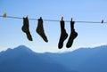 Socks drying Royalty Free Stock Photo