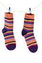 Socks hanging on a rope Stock Image