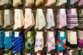Socks in stores collection of colorful for sale on display Royalty Free Stock Image