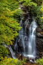 Soco falls is a waterfall dream located in the cherokee nation off the side of the road connecting maggie valley to cherokee Royalty Free Stock Image