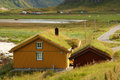 Sod roofs houses with typical roof on lofotten islands in norway Stock Photography