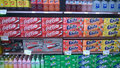 Soda beverage on store shelves beverages supermarket usa Royalty Free Stock Photo