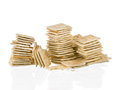 Soda crackers stacks half eaten isolated on white background Royalty Free Stock Photo
