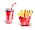 Soda drink with french fries Stock Photography