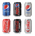 Soda drinks los angeles usa november collection of various brands of in aluminum cans isolated on white brands included in this Stock Photography