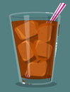 Soda with ice glass of and straw Royalty Free Stock Photography