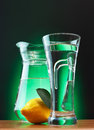 Soda wate and lemon glass of water Stock Photos