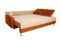 Sofá de Brown com o upholstery da tela isolado Imagem de Stock