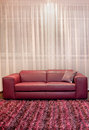 Sofa burgundy modern interior with leather and carpet Stock Photography